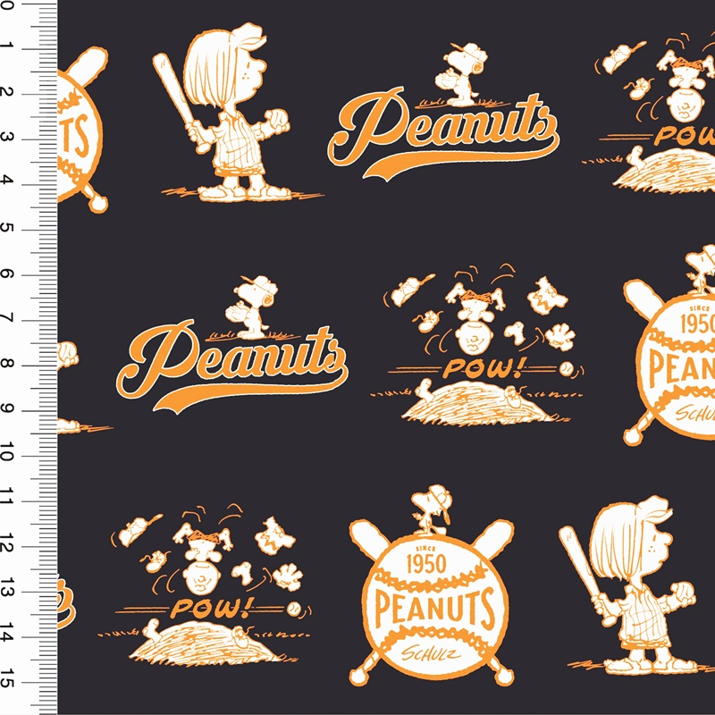 Baumwolljersey - Motivjersey - Lizenz - Peanuts - Vintage - GOTS zertifiziert - Dunkelgrau