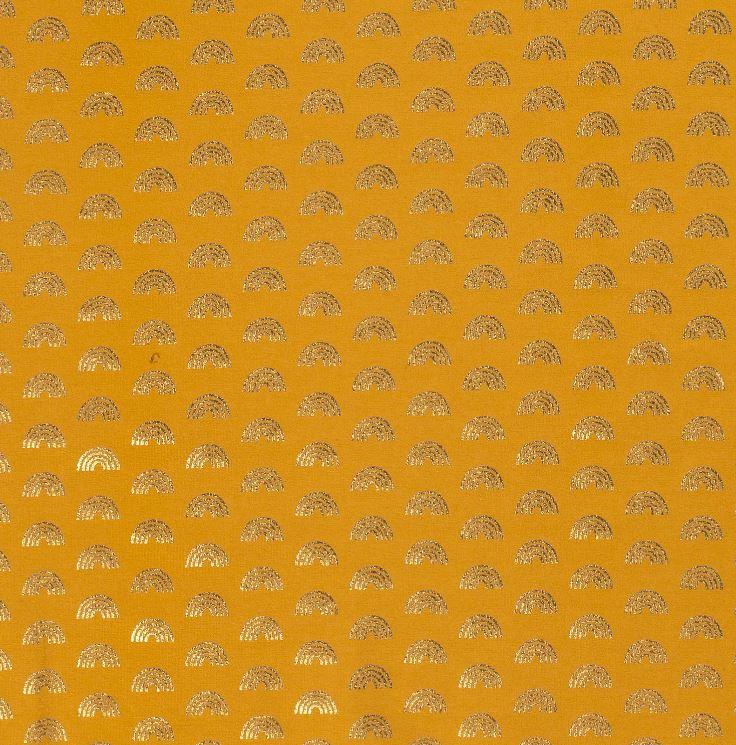 Baumwolljersey - Jersey Stoff - Regenbögen mit Foliendruck auf Ocker