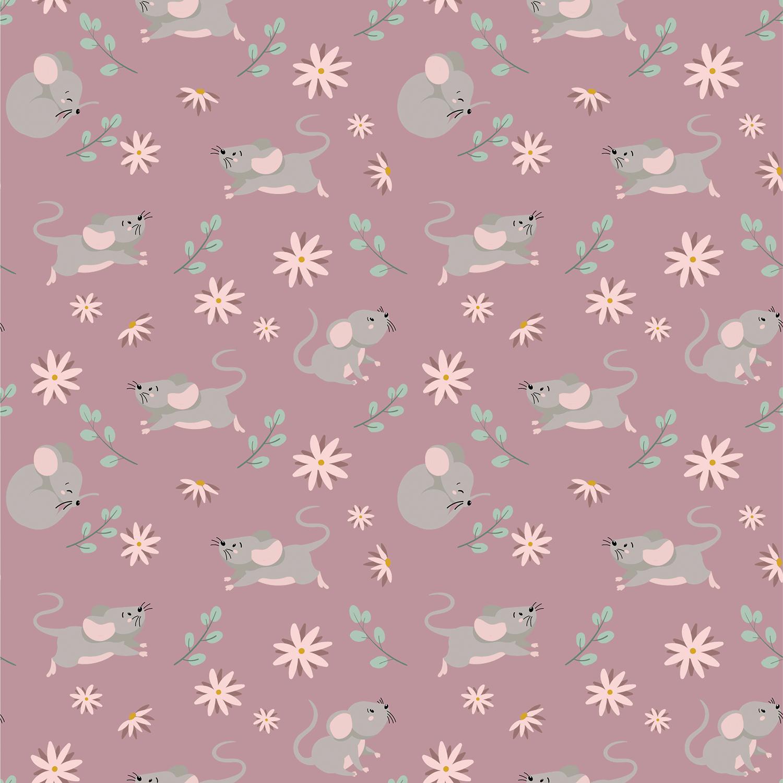 Baumwolljersey - Jersey Stoff - Kleine Mäuschen und Blumen auf Altpink