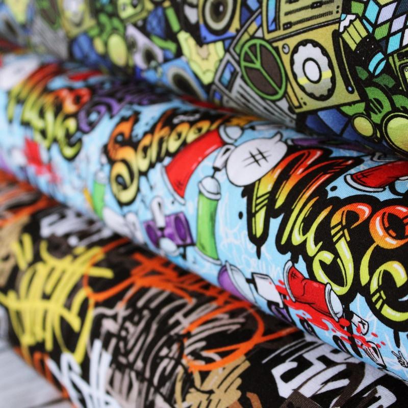 Graffiti Stoffe auf Baumwolljersey