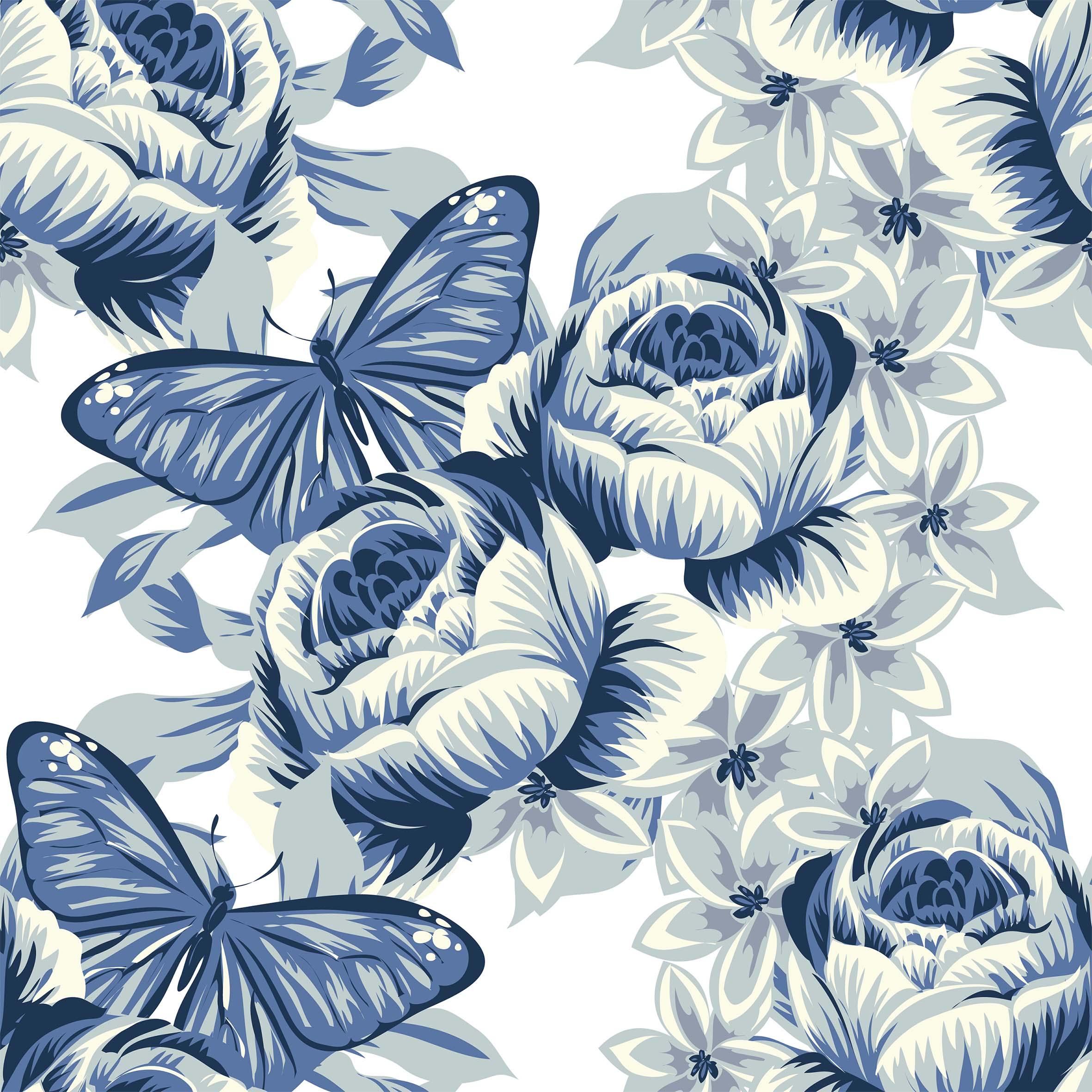 Baumwolljersey - Blue Butterflies - Schnuckidu Eigenproduktion - Vorbestellung