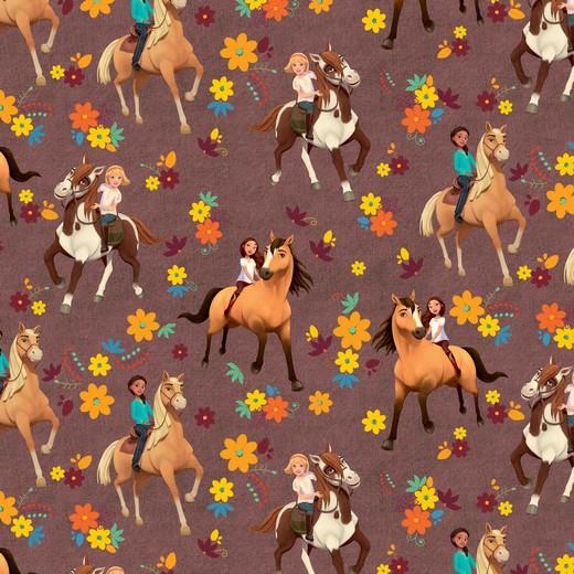 French Terry - Sommersweat - Lizenz - Spirit - Pferde mit Blumenmuster