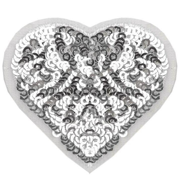 Aufbügler - Patch - Patches - Herz mit Glitzerpailetten - Silber - 5,5cm x 6cm