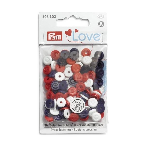 Prym - Druckknopf 'Color Snaps' Mini Annähoptik. Prym Love. rot/weiß/marine 393603