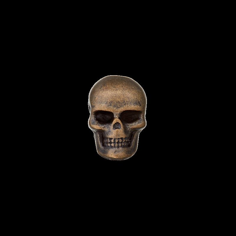 Kordelende Totenkopf Kupfer - 1 Stück - 15mm - Geeignet für 5mm Kordeln