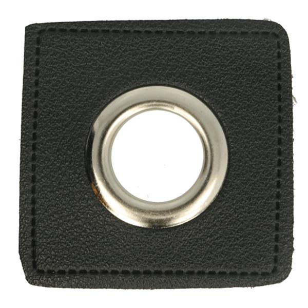 Kunstleder Ösen - Ösen Patches - Viereck Schwarz -11mm - Silber - 1 Stück