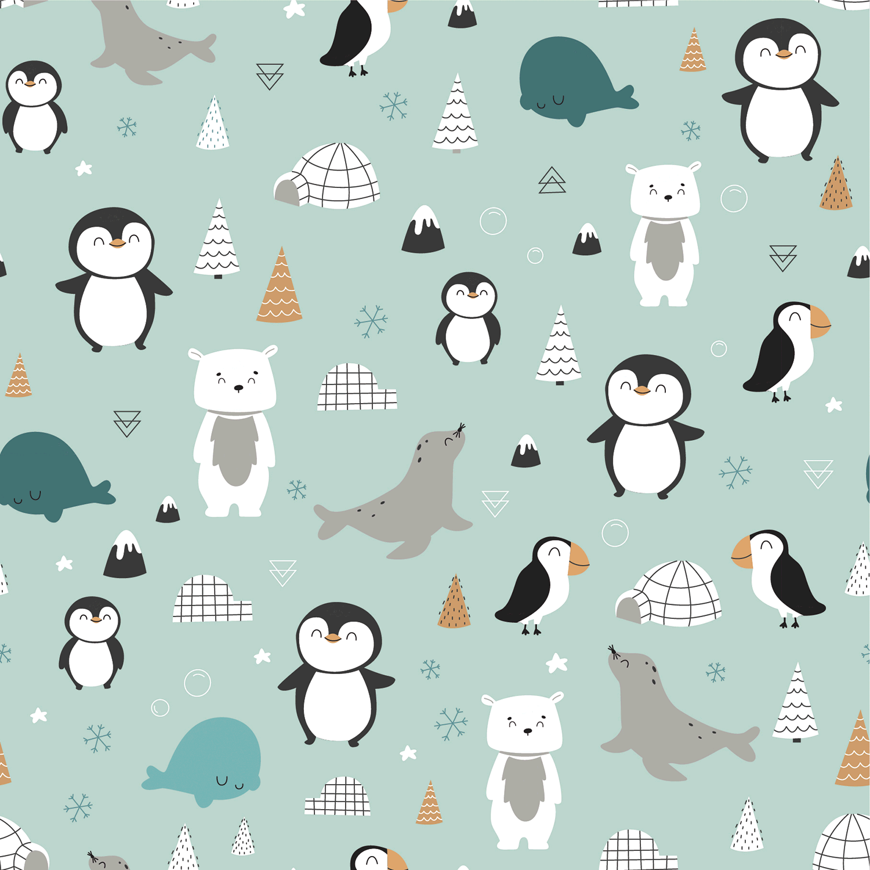 Baumwolljersey - Jersey Stoff - Pinguine, Eisbären und Robben auf Minze