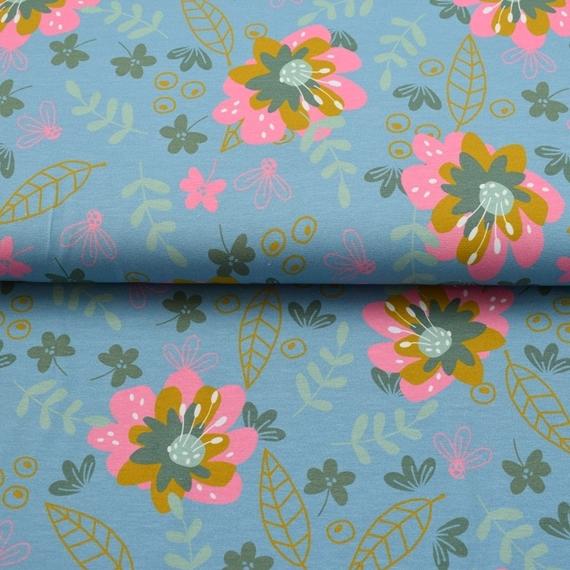 Baumwolljersey - Jersey Stoff - Motivjersey - Beautiful Flowers - Blumen auf Jeansblau