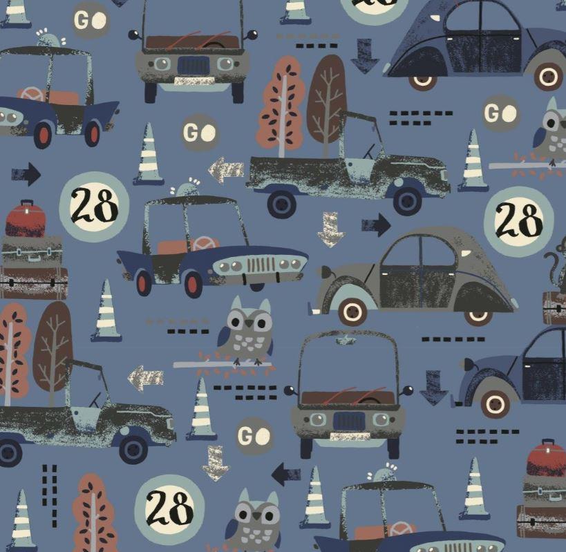 Baumwolljersey - Jersey Stoff - Motivjersey - Digitaldruck - Fahrzeuge und Tiere auf Dunkles Jeans