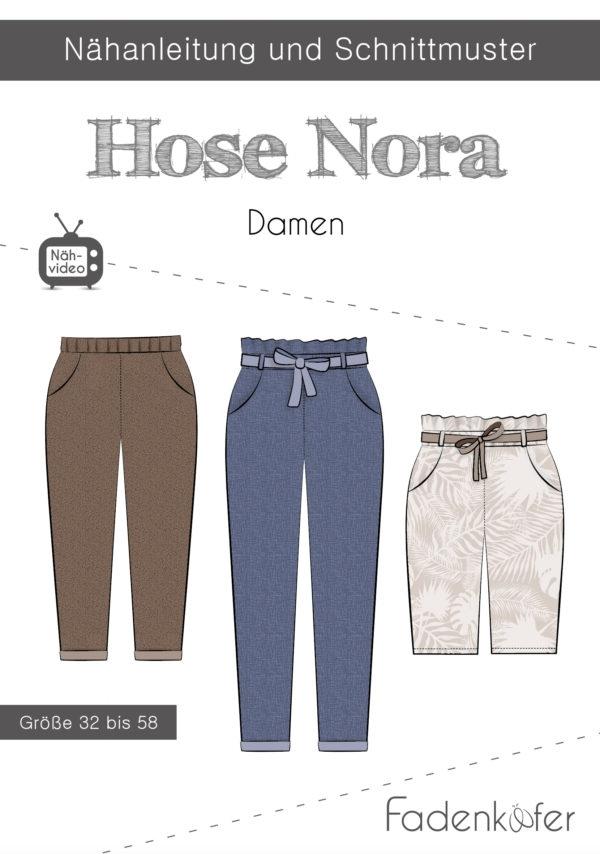 Papierschnittmuster Fadenkäfer - Papierschnittmuster Hose Nora Damen - Größe 32 bis 58