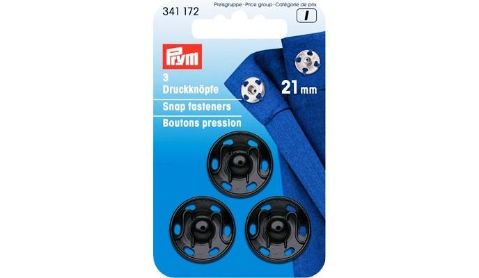 Prym - Annäh-Druckknöpfe 21 mm Schwarz