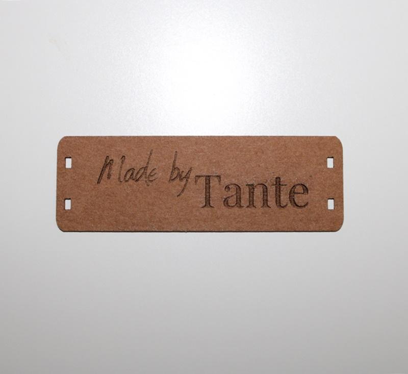 """Schnuckidu  - Label zum Annähen - SnapPap - Schriftzug - """"Made by Tante"""""""