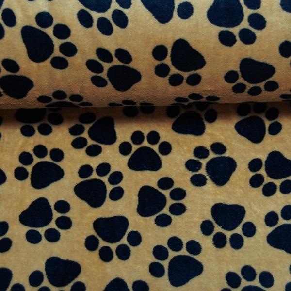 Fleece - Kuschelfleece Stoff - Hundepfoten in Schwarz auf Braun