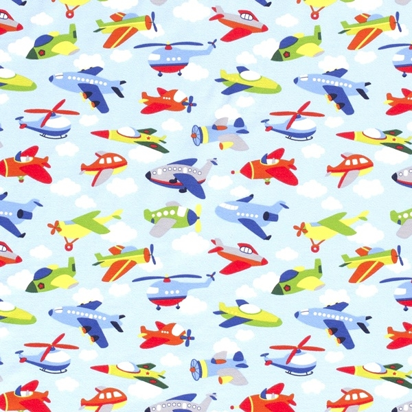 Baumwolljersey Stoff - Motivjersey - Flugzeuge auf Babyblau