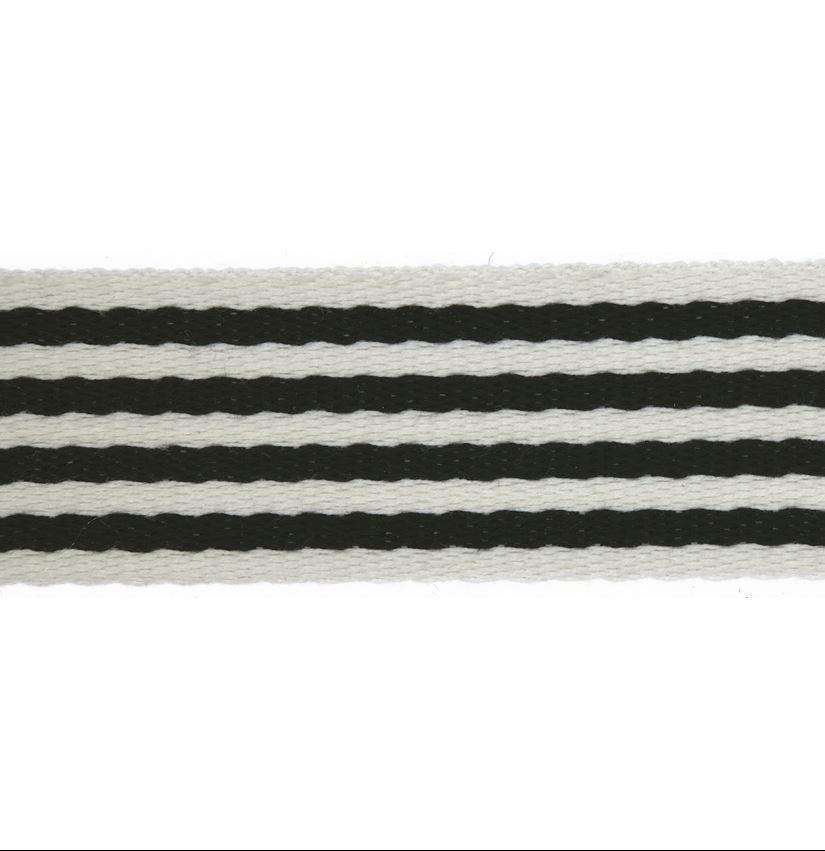 Taschengurtband - Gurtband - 40mm - Streifen - Schwarz