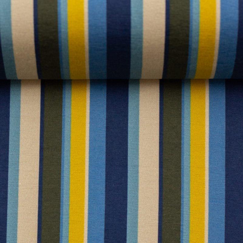 Baumwolljersey - Jersey Stoff - Swafing - Steinbeck Woody - Streifen in Beige, Braun, Gelb und Blautöne