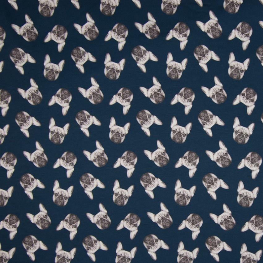 Baumwolljersey - Jersey Stoff - Hundeköpfe auf Navy