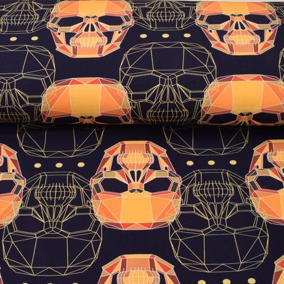 French Terry - Sommersweat Stoff - Motiv Sweat - Grafische Totenköpfe in Orangetöne auf Navy