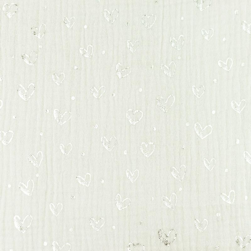 Musselin - Double Gauze - Mullstoff - Herzen in Silber auf Ecru