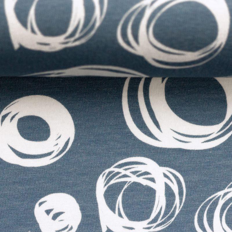 Baumwolljersey - Jersey Stoff - Motivjersey - Swafing - Theo - Kreise auf Jeansblau