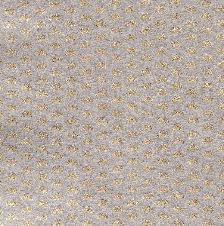 Baumwolljersey - Jersey Stoff - Regenbögen mit Foliendruck auf Grau