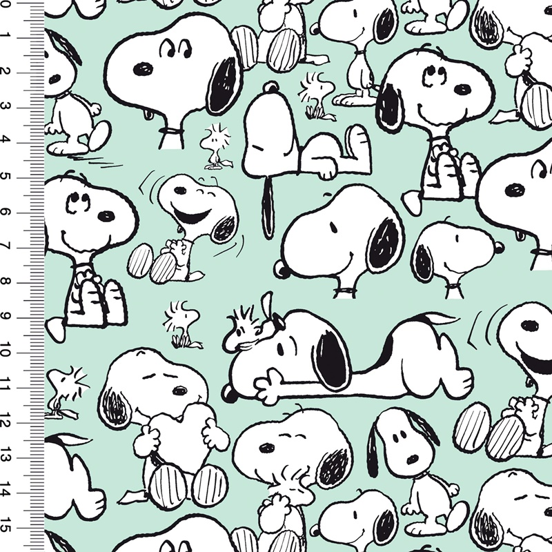 Baumwolljersey - Motivjersey - Lizenz - Peanuts - Snoopy - Happiness - GOTS zertifiziert - Hellmint