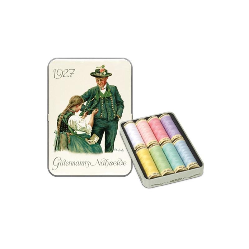Gütermann - Allesnäher - Nostalgie-Box Allesnäher 100 m - 8 Spulen - Pastelfarben