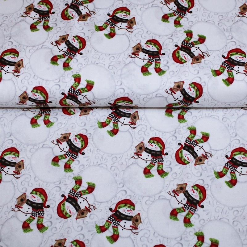 Baumwolle - Patchwork Baumwolle - Baumwoll Stoff - Snow Place Like Home - Schneemann auf Weiß mit Ranken Reststück 100cm x 112cm