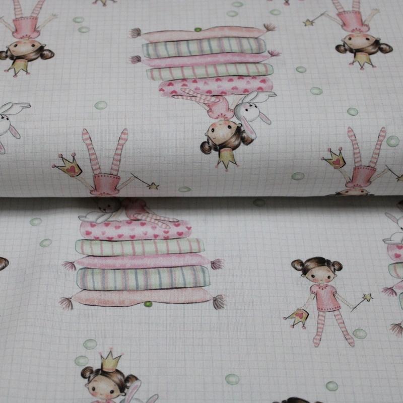 Baumwolle - Baumwoll Stoff - Prinzessin mit Hase auf Kissen