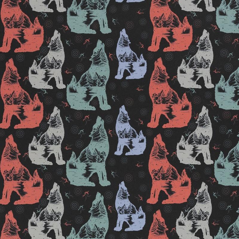 Softshell - Motiv Softshell - Swafing - Fiete - Heulende Wölfe auf Schwarz
