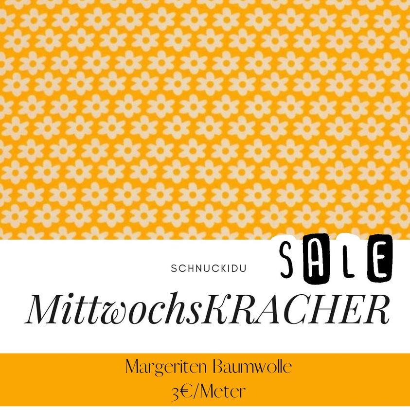 MittwochsKRACHER: Baumwolle mit Margeriten für unschlagbare 3€/Meter!