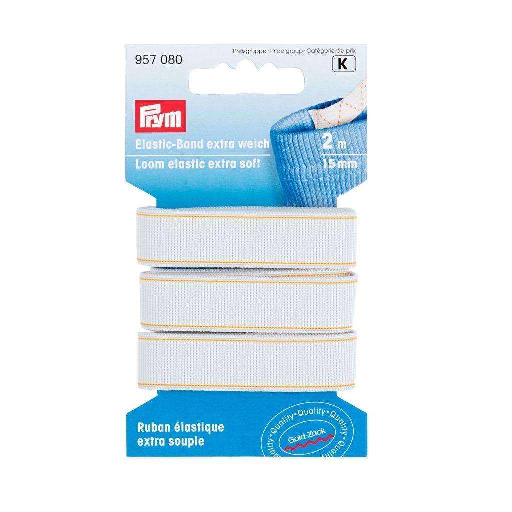 Prym - Elastic-Band, extra weich, 15mm, weiß, 2m - 957080