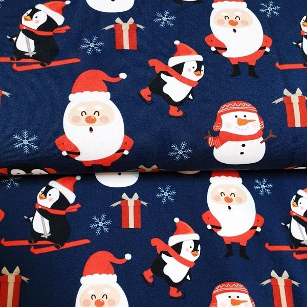 Jersey Christmas Pengu by Schnuckidu -  Weihnachtsmotive mit Pinguinen auf Navy - Eigenproduktion - Reststück 100cm x 150cm