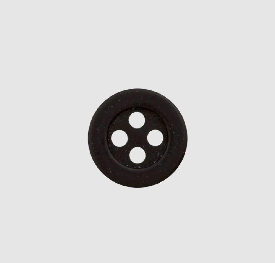 Knopf - Polyesterknopf - Hanf - 4 Loch - 11mm -  Schwarz