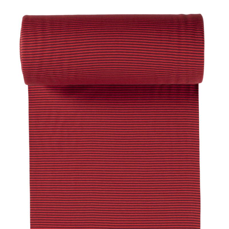 Ringelbündchen - Bündchen Stoff Glatt kleine Streifen - Bordeaux/Rot