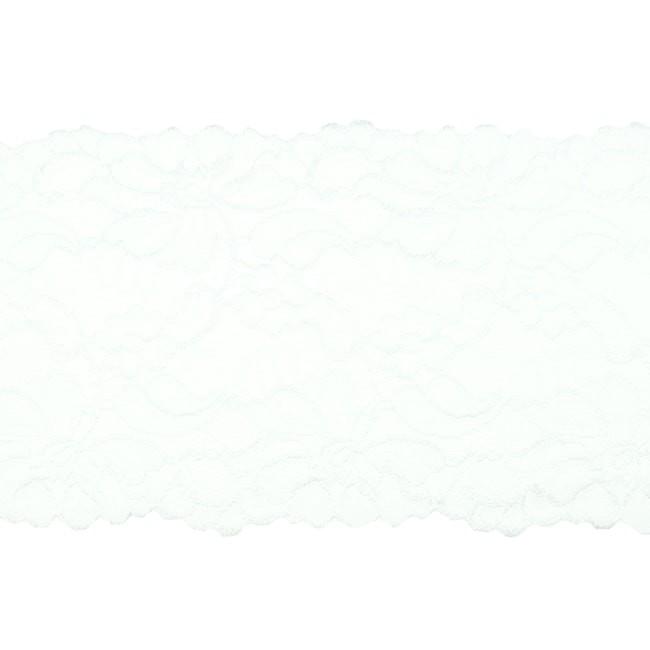 Elastische Spitze - Perlonspitze - 15 cm - Weiß