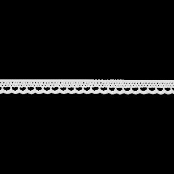 Baumwollspitze - Klöppelspitze - 10mm - Weiß mit eingearbeiteten Glanzeffekt