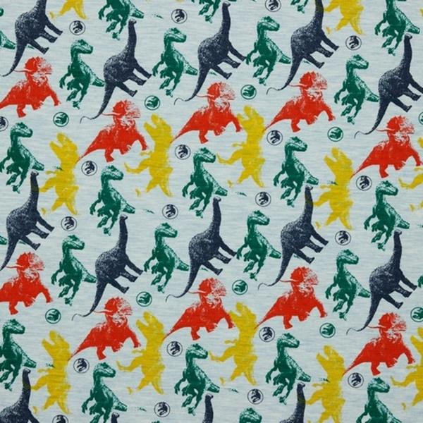 Baumwolljersey - Jersey Stoff - Motivjersey - Bunte Dinos auf Hellblau Melange