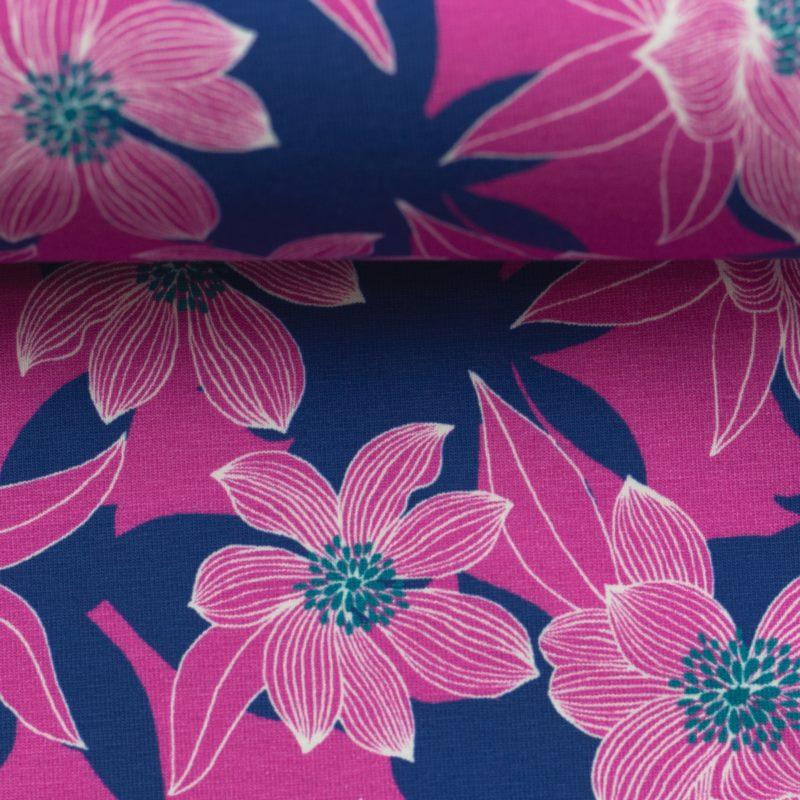 Baumwolljersey - Jersey Stoff - Motivjersey - Swafing - Tropical Forest - Blume auf Pink/Dunkelblau