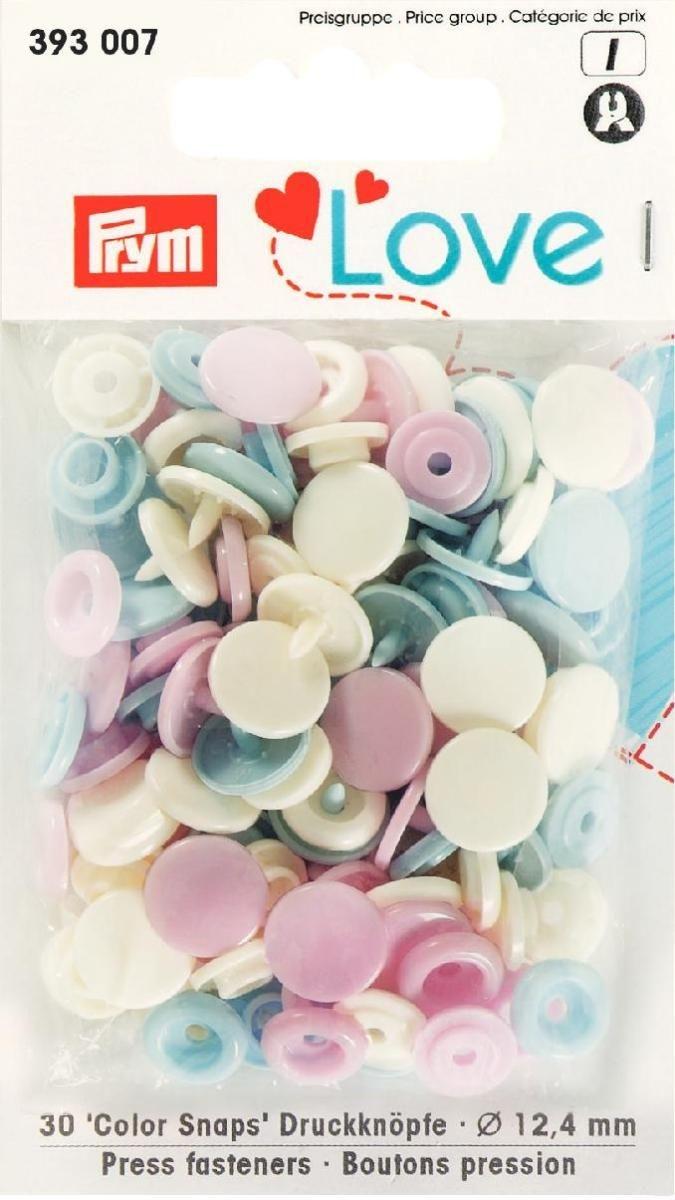 Druckknopf Color. Prym Love. 12.4mm. rosa/hellblau/perle - 393007
