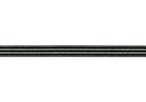Gummiband 20mm - gestreift - Silber Lurex - Schwarz