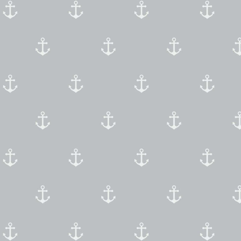 Musselin - Double Gauze - Mullstoff - Maritim - Anker in Weiß auf Grau