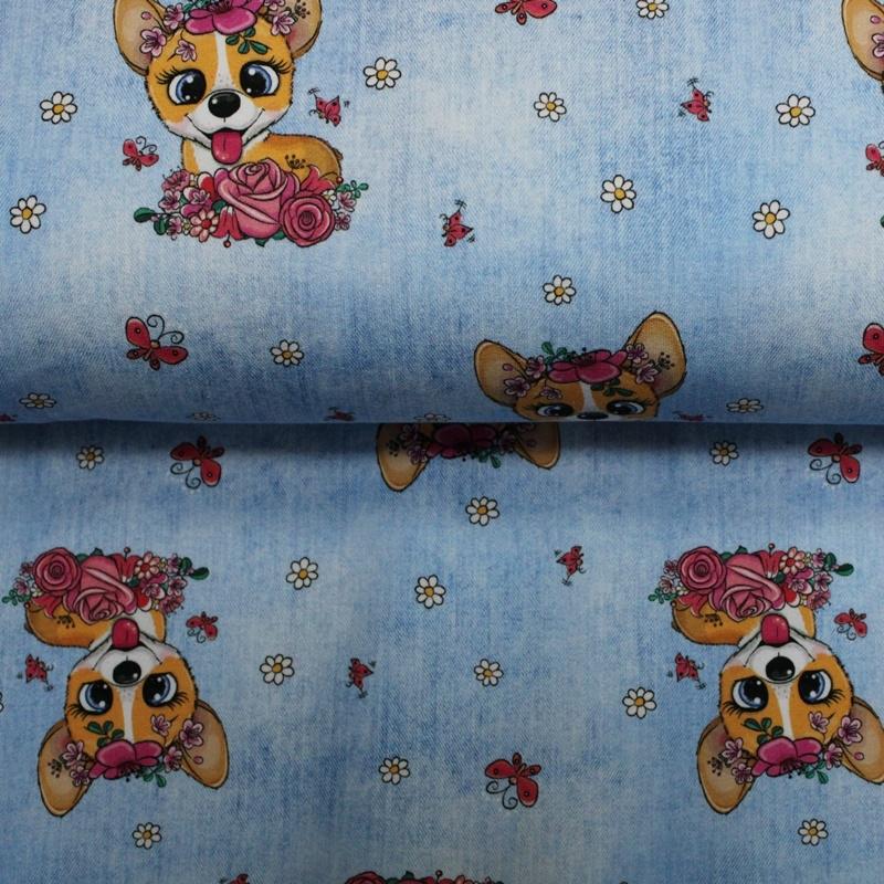 French Terry - Sommersweat Stoff - Motivsweat - Süße Hunde auf Babyblau