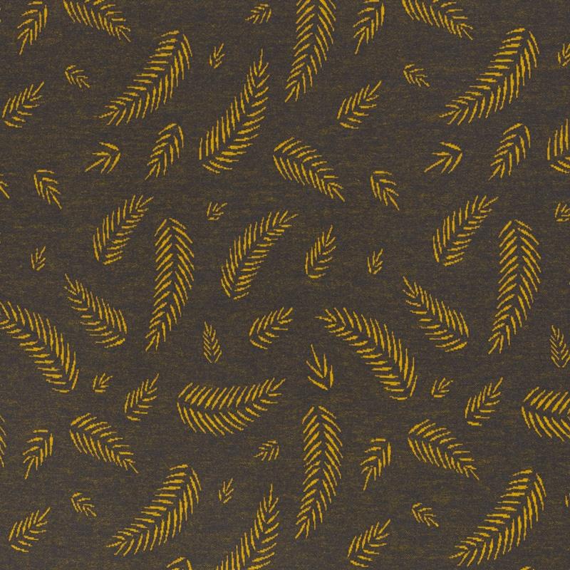Jaquardjersey - Jaquard Stoff - Twigs by lycklig design - Federn auf Grau