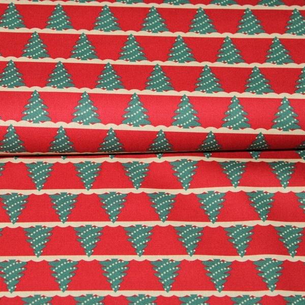 Baumwolle - Baumwoll Stoff - Merry Christmas - Tannenbäume auf Rot Reststück 85cm