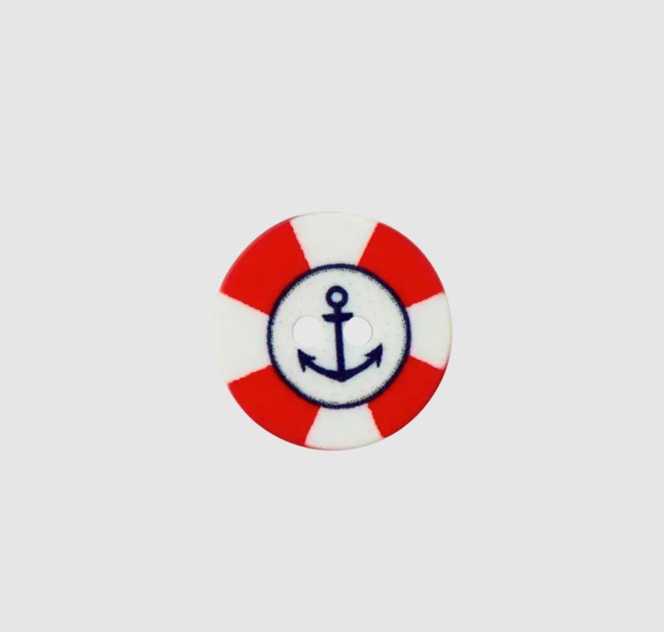 Knopf - Polyesterknopf - 2 Loch - 15mm -  Maritim - Anker in blau mit roter Umrandung