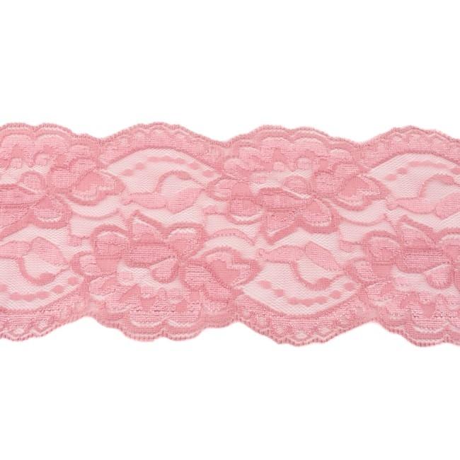 Elastische Spitze - 9,5 cm - dunkles Altrosa