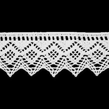 Baumwollspitze - Klöppelspitze - 43mm - Weiß mit eingearbeiteten Glanzeffekt