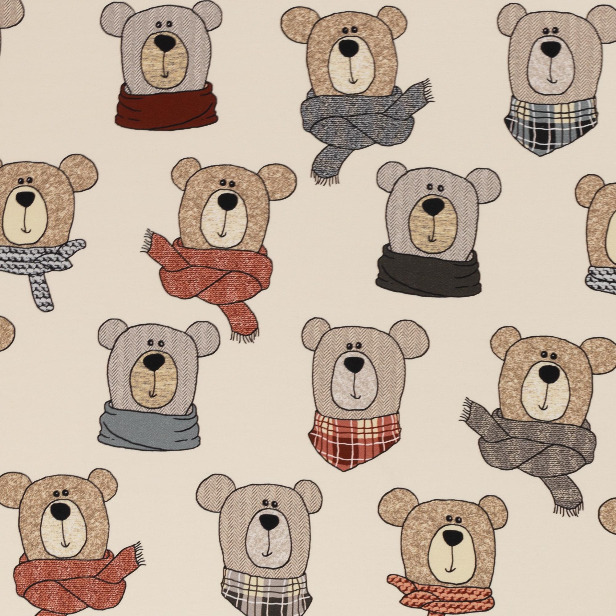 French Terry - Sommersweat - Swafing - Sweet Bears - Bärchen mit Schal auf Beige