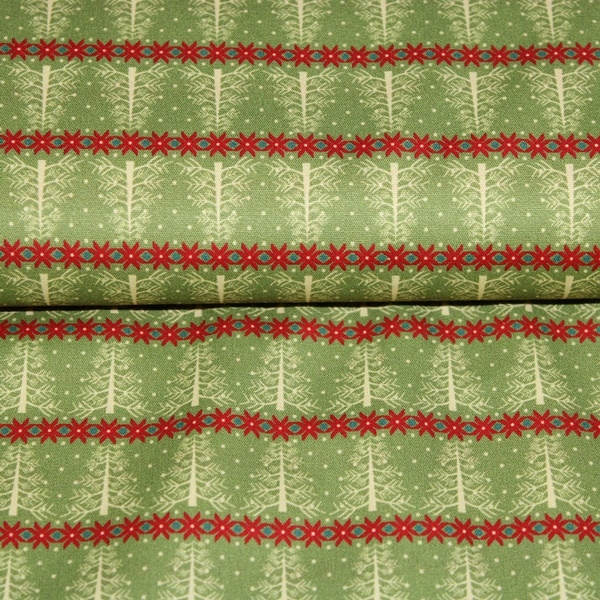 Baumwolle - Baumwoll Stoff - Merry Christmas - Tannenbäume auf Grün